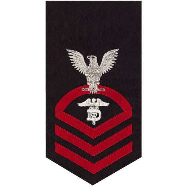 Navy E7 MALE Rating Badge: Dental Technician - seaworthy red on blue