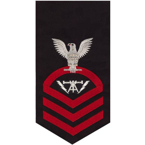 Navy E7 Rating Badge: Fire Controlman - seaworthy red on blue