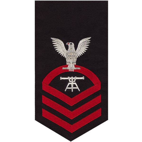 Navy E7 MALE Rating Badge: Fire Control Technician - seaworthy red on blue