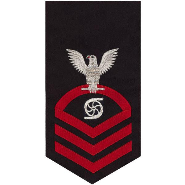 Navy E7 Rating Badge: Gas Turbine System Technician - seaworthy red on blue