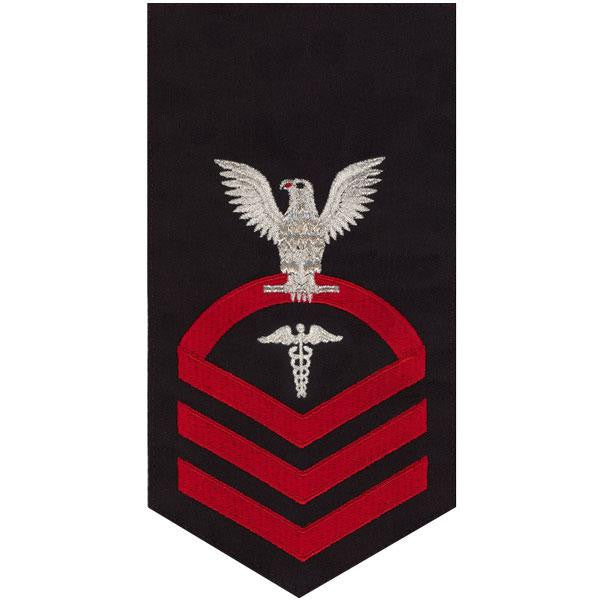 Navy E7 MALE Rating Badge: Hospital Corpsman - seaworthy red on blue