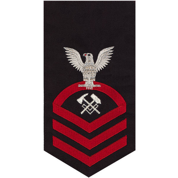 Navy E7 Rating Badge: Hull Maintenance Technician - seaworthy red on blue