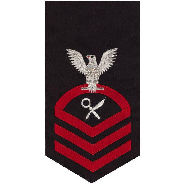 Navy E7 Rating Badge: Intelligence Specialist - seaworthy red on blue