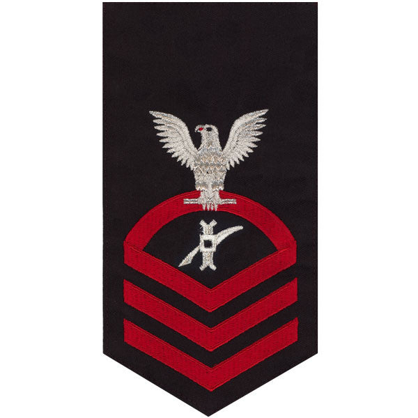 Navy E7 Rating Badge: Legalman - seaworthy red on blue