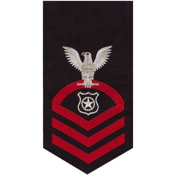 Navy E7 Rating Badge: Master At Arms - seaworthy red on blue