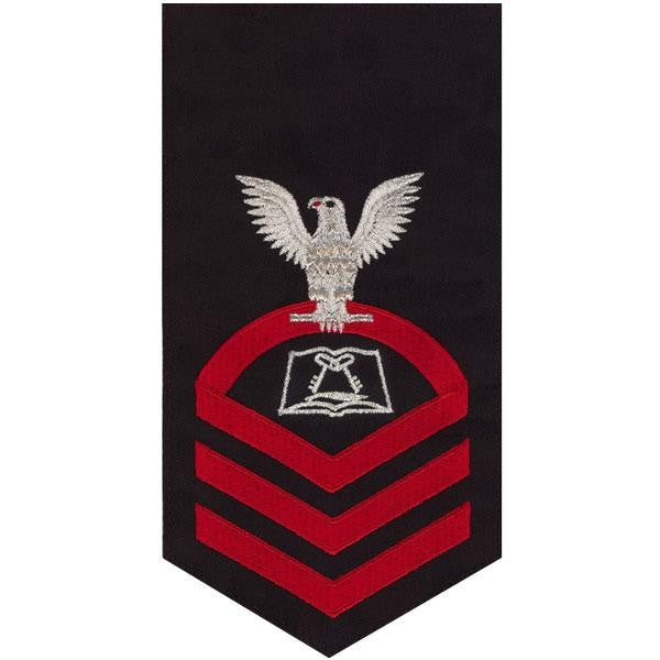 Navy E7 Rating Badge: Culinary Specialist - seaworthy red on blue