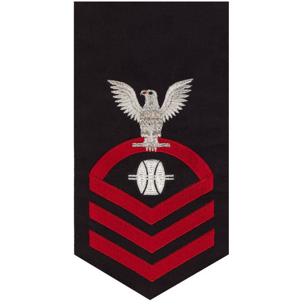 Navy E7 Rating Badge: Opticalman - seaworthy red on blue