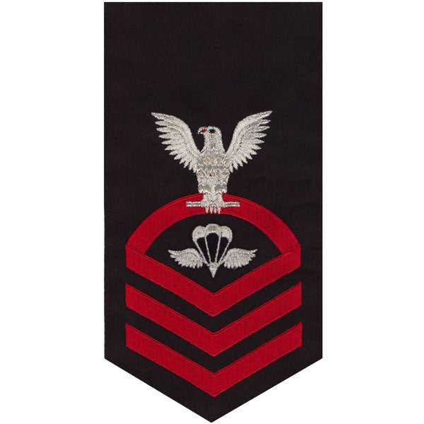 Navy E7 MALE Rating Badge: Aircrew Survival Equipmentman - seaworthy red on blue