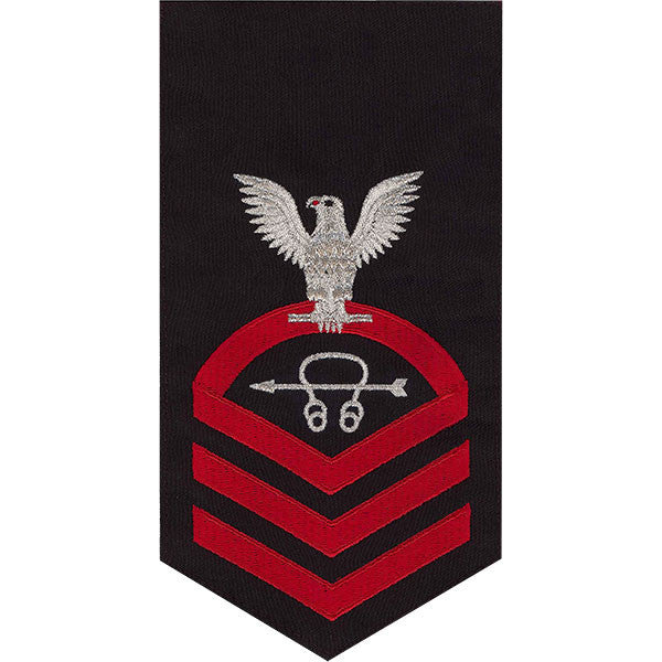 Navy E7 Rating Badge: Sonar Technician - seaworthy red on blue