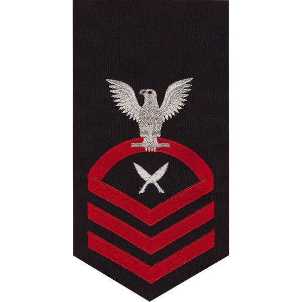 Navy E7 Rating Badge: Yeoman - seaworthy red on blue
