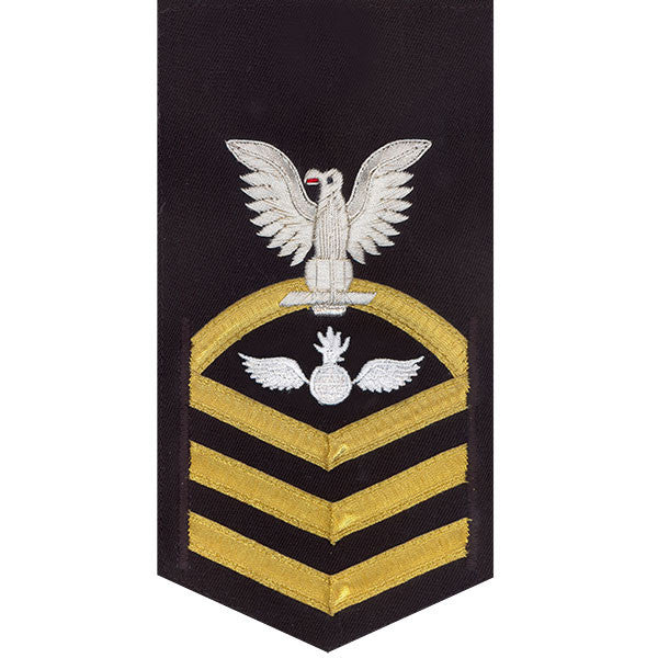 Navy E7 MALE Rating Badge: Aviation Ordnanceman - vanchief on blue