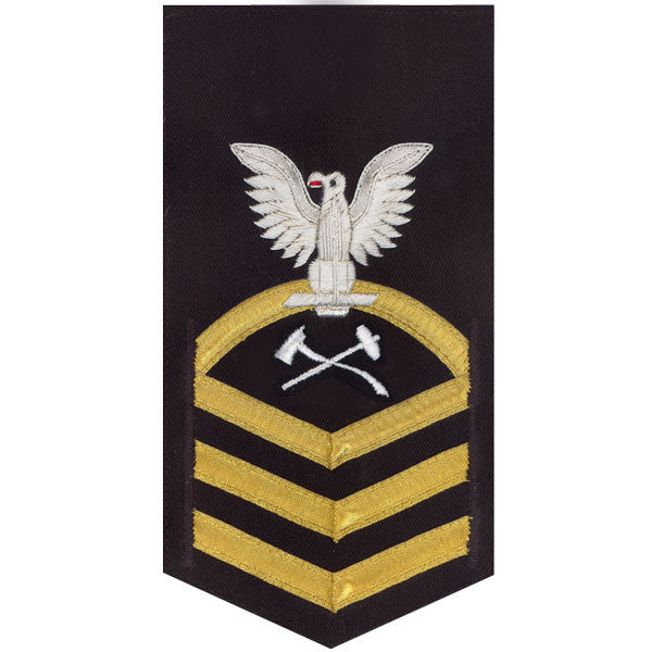 Navy E7 MALE Rating Badge: Damage Controlman - vanchief on blue