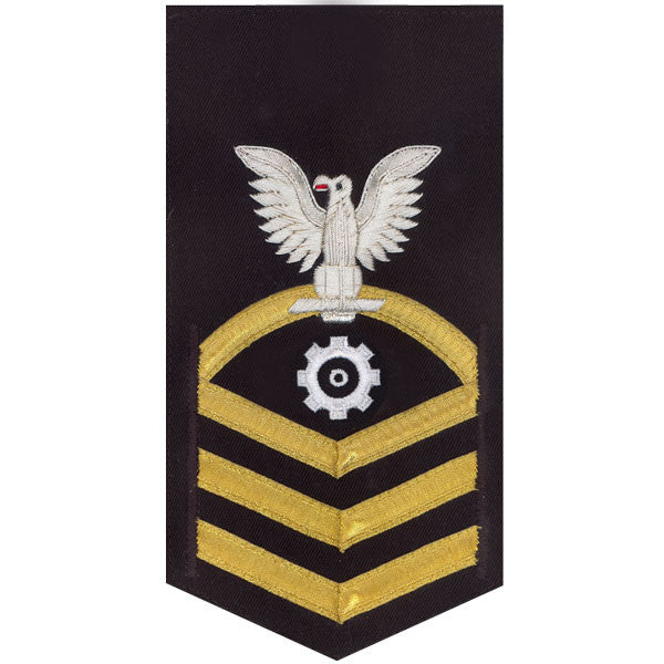 Navy E7 Rating Badge: Engineman - vanchief on blue