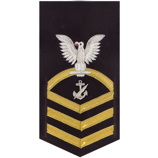 USN E-7 Vanchief on Blue Navy Counselor Rating Badge – Vanguard