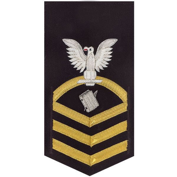 Navy E7 Rating Badge: Personnelman - vanchief on blue