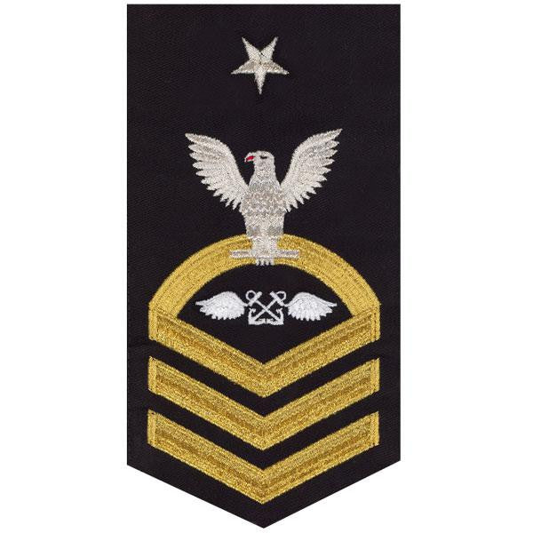 Navy E8 Rating Badge: Aviation Boatswain's Mate - seaworthy gold on blue
