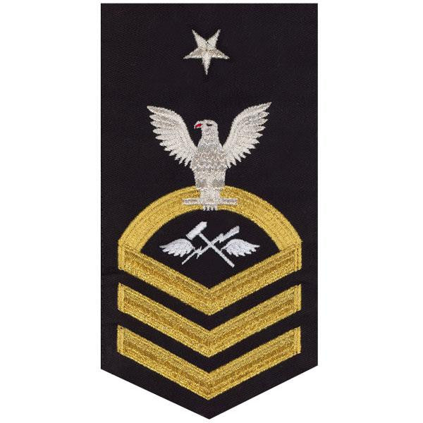 Navy E8 MALE Rating Badge: Aviation Support Equipment Technician - seaworthy gold on blue