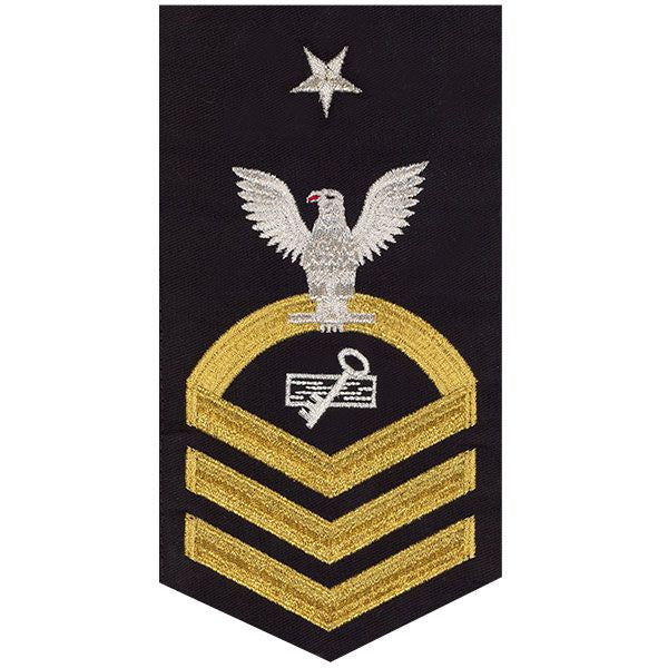Navy E8 Rating Badge: Disbursing Clerk - seaworthy gold on blue
