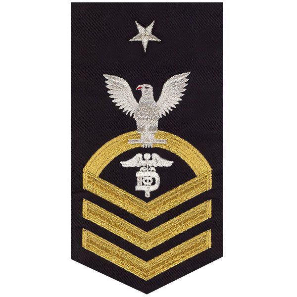 Navy E8 Rating Badge: Dental Technician - seaworthy gold on blue