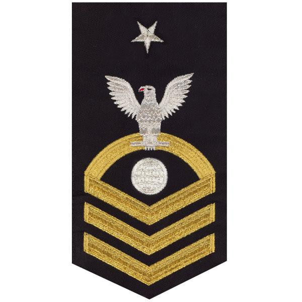 Navy E8 MALE Rating Badge: Electrician's Mate - seaworthy gold on blue