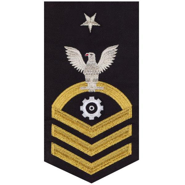 Navy E8 Rating Badge: Engineman - seaworthy gold on blue