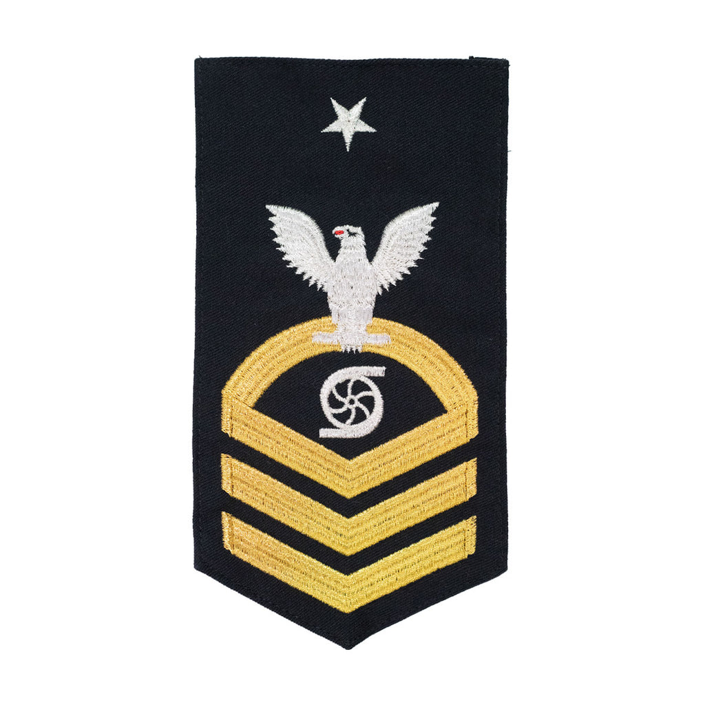 Navy E8 MALE Rating Badge: GS Gas Turbine System Technician - seaworthy gold on blue