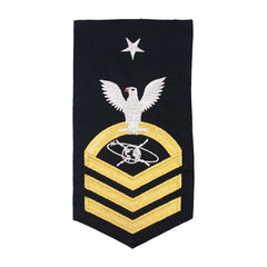 Navy E8 MALE Rating Badge: MC Mass Communication Specialist - seaworthy gold on blue