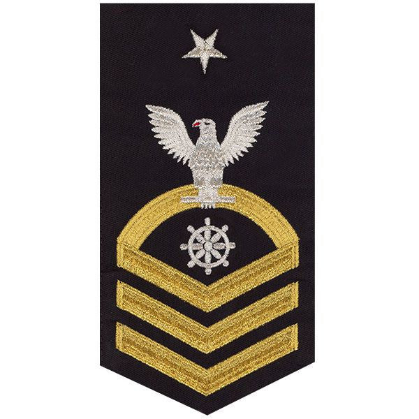 Navy E8 MALE Rating Badge: Quartermaster - seaworthy gold on blue