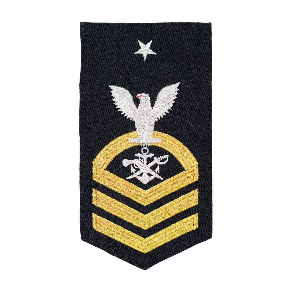 Navy E8 MALE Rating Badge: SB Special Warfare Boat Operator - seaworthy gold on blue