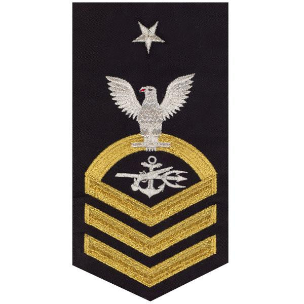 Navy E8 Rating Badge: Special Warfare Operator - seaworthy gold on blue