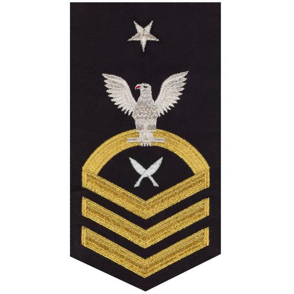 Navy E8 MALE Rating Badge: Yeoman - seaworthy gold on blue
