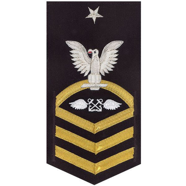 Navy E8 Rating Badge: Aviation Boatswain's Mate - vanchief on blue