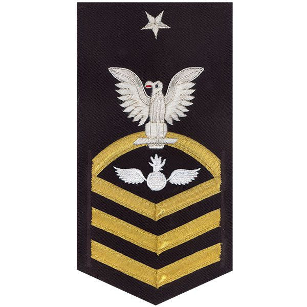 Navy E8 Rating Badge: Aviation Ordnanceman - vanchief on blue