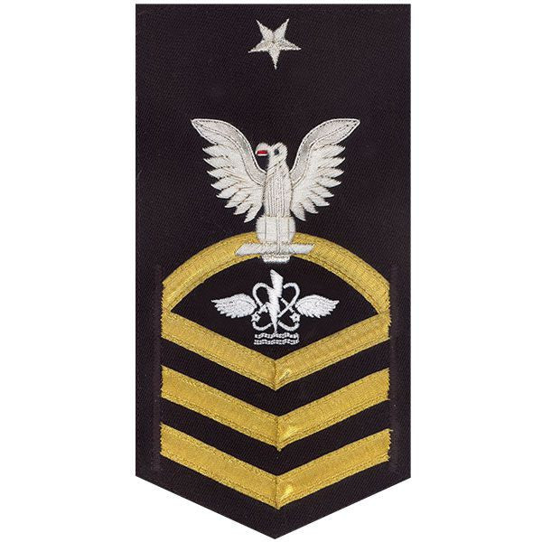Navy E8 Rating Badge: Aviation Anti-Submarine Warfare Operator - vanchief on blue