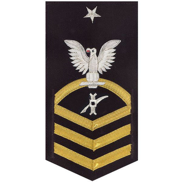 Navy E8 Rating Badge: Legalman - vanchief on blue