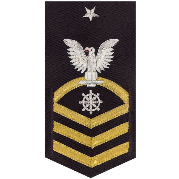Navy E8 MALE Rating Badge: Quartermaster - vanchief on blue