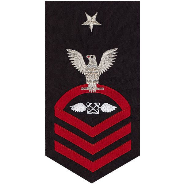 Navy E8 Rating Badge: Aviation Boatswain's Mate - seaworthy red on blue