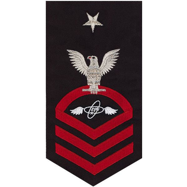 Navy E8 Rating Badge: Aviation Electronics Technician - seaworthy red on blue