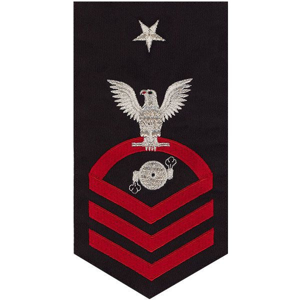 Navy E8 Rating Badge: Boiler Technician - seaworthy red on blue