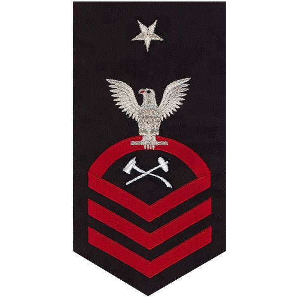 Navy E8 Rating Badge: Damage Controlman - seaworthy red on blue