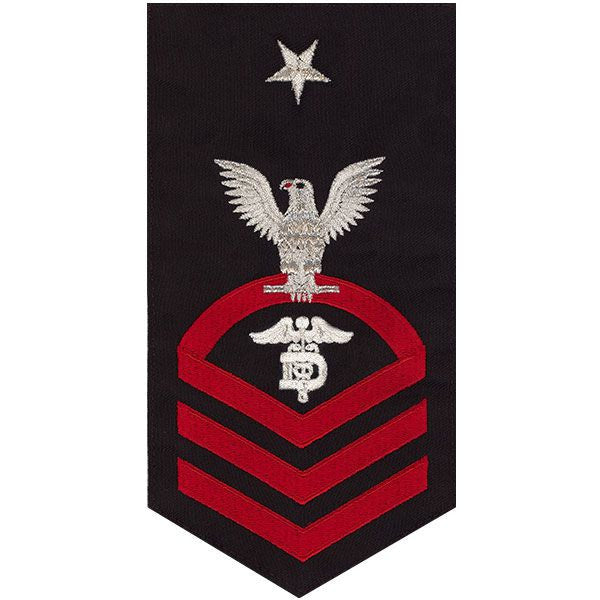 Navy E8 Rating Badge: Dental Technician - seaworthy red on blue