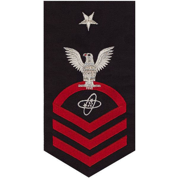 Navy E8 Rating Badge: Electronics Technician - seaworthy red on blue