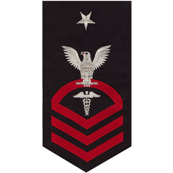 Navy E8 Rating Badge: Hospital Corpsman - seaworthy red on blue