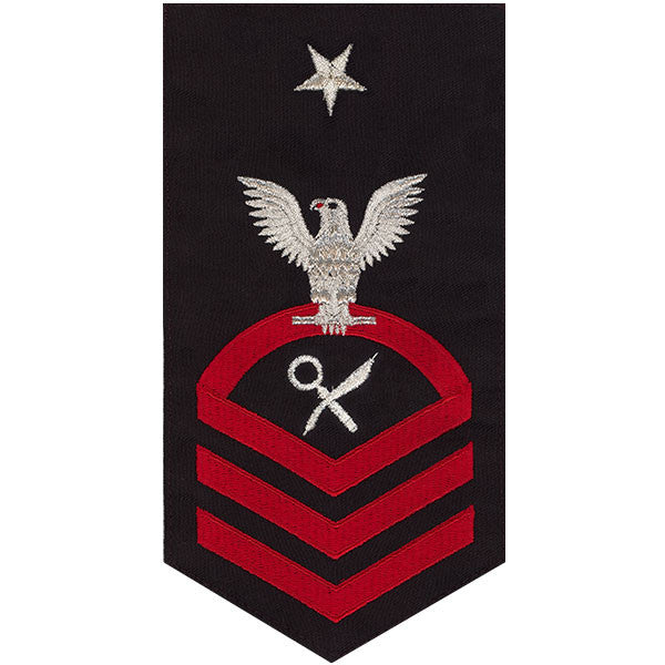 Navy E8 Rating Badge: Intelligence Specialist - seaworthy red on blue
