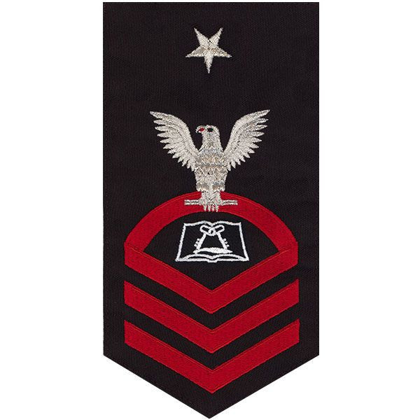 Navy E8 Rating Badge: Culinary Specialist - seaworthy red on blue