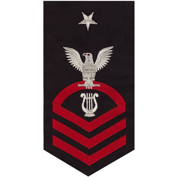 Navy E8 Rating Badge: Musician - seaworthy red on blue