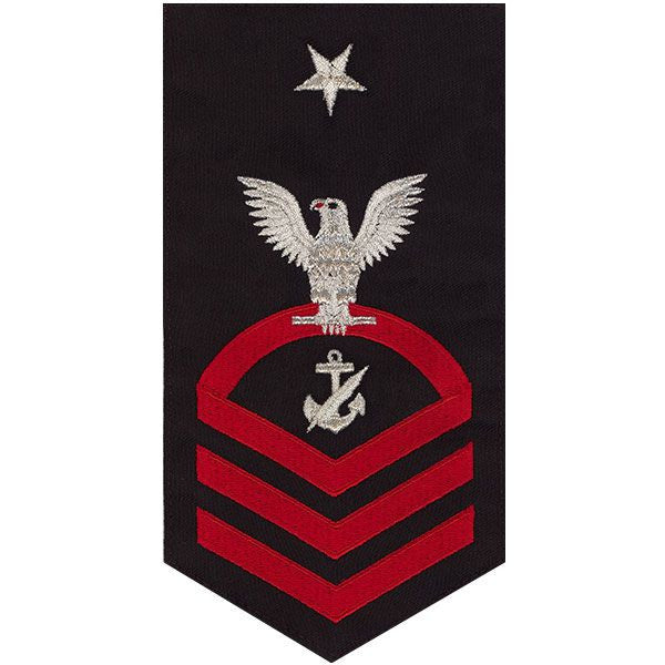 Navy E8 MALE Rating Badge: Navy Counselor - seaworthy red on blue