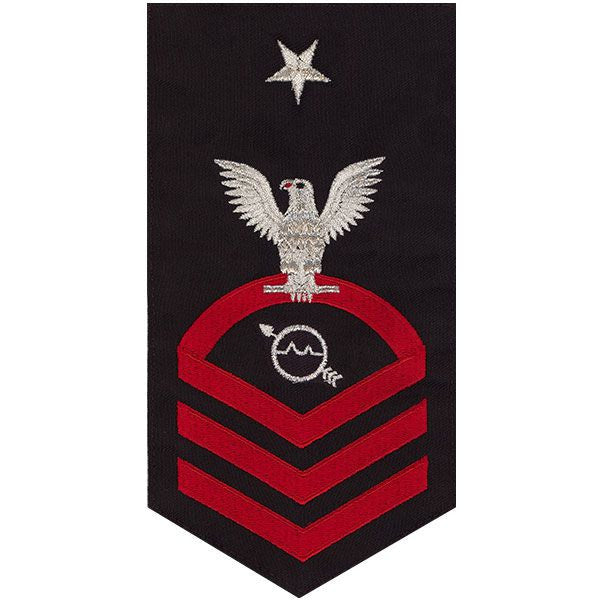 Navy E8 MALE Rating Badge: Operations Specialist - seaworthy red on blue
