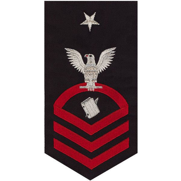 Navy E8 MALE Rating Badge: Personnelman - seaworthy red on blue