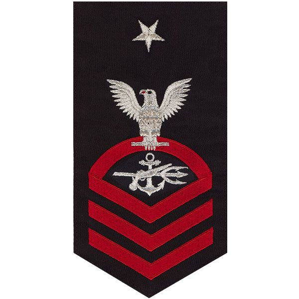 Navy E8 MALE Rating Badge: Special Warfare Operator - seaworthy red on blue